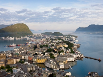 Alesund seen from Aksla hill in Norway