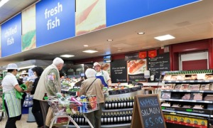 Fresh fish and meat section at ASDA supermarket.
