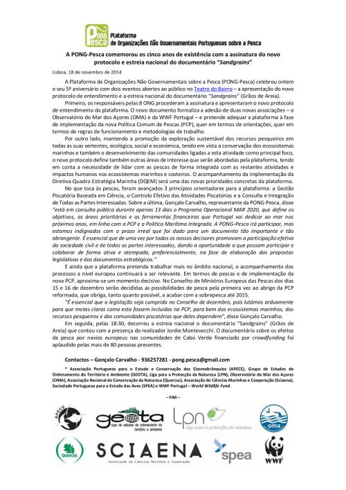 Comunicado de Imprensa - PONG-Pesca celebrou 5 anos com assinatura de novo protocolo e estreia nacional de documentário Sandgrains_final