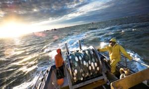 Salmon fishermen off the coast of Bristol Bay, Alaska.