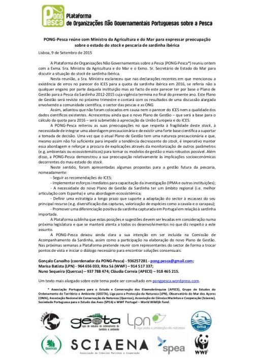 2015-09-09_Comunicado de Imprensa_resultados da audiência com Ministra sobre a sardinha